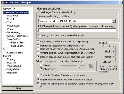 Winamp Einstellungen - (Computer, PC, Winamp)