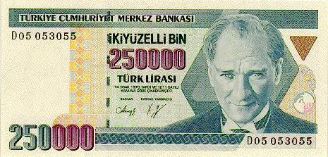 250000 TL Vorderseite - (Geld, Bank, Wert)