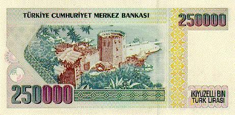 250000 TL Rückseite - (Geld, Bank, Wert)