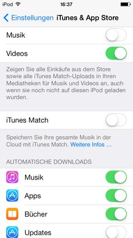 Appstore Einstellungen - (iPhone, apple id)