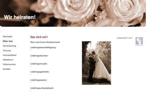 Vorlage für eine Hochzeitshomepage - (Homepage, Hochzeit, Hochzeitsplanung)