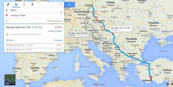Beispiel-Route - (Auto, Reise, Deutschland)