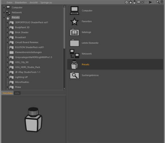 Content Browser - (Design, Texturen, Cinema4D)