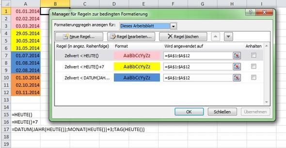 Excel Bedingte Formatierung abhängig vom aktuellen Datum ...