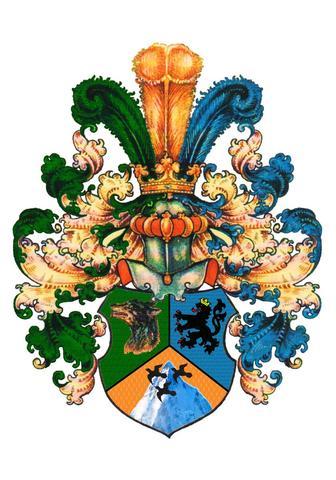 Das Wappen komplett in Farbe - (Wappen, Heraldik, familienwappen)