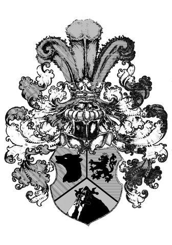 Das Wappen komplett in SW - (Wappen, Heraldik, familienwappen)