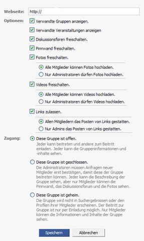 gruppeneinstellung - (Facebook, App, Seiten-Manager)