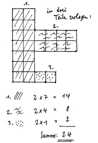 Fläche in Teilflächen zerlegt - (Mathe, Figur, Hass)