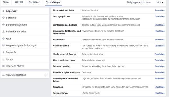 Einstellungen FB Fanseite - (PC, Kommentare, npage)