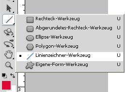 Linienwerkzeug in der Menüleiste - (Photoshop, Linienwerkzeug)