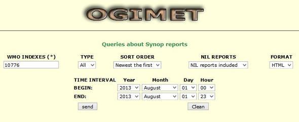 Ogimet Synop - (Daten, Wetter, Temperatur)