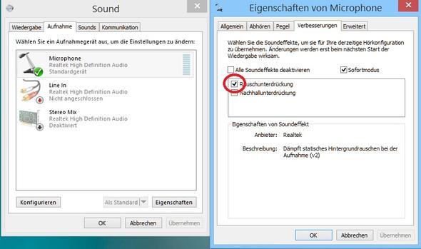 Mikrofoneigenschaften, Rauschunterdrückung aktivieren - (Computer, Gaming, Headset)