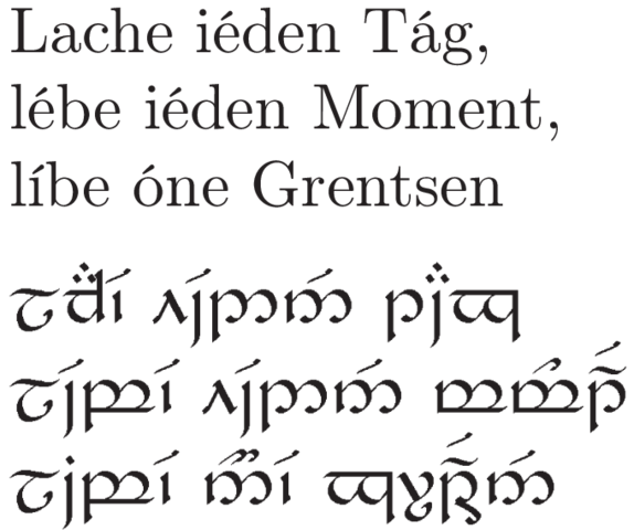 Deutscher Text in Tengwar-Schrift - (Tattoo, elbisch)