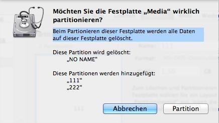 Festplattendienstprogramm Warnmeldung bei Partitionierung - (Hardware, Mac, Festplatte)