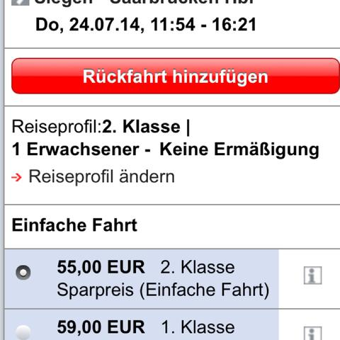 Hinfahrt - (Ticket, Bus, Zug)