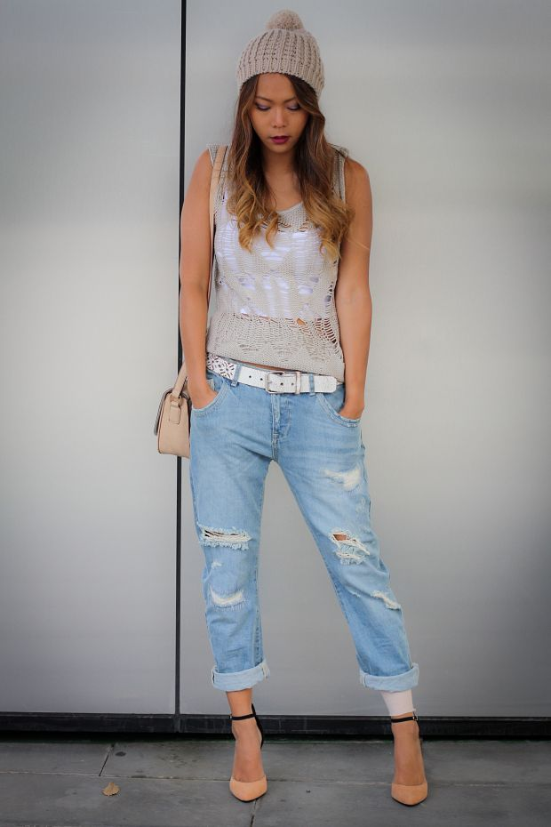 kombination wei e boyfriend jeans mit l chern mode weisse rose. Black Bedroom Furniture Sets. Home Design Ideas