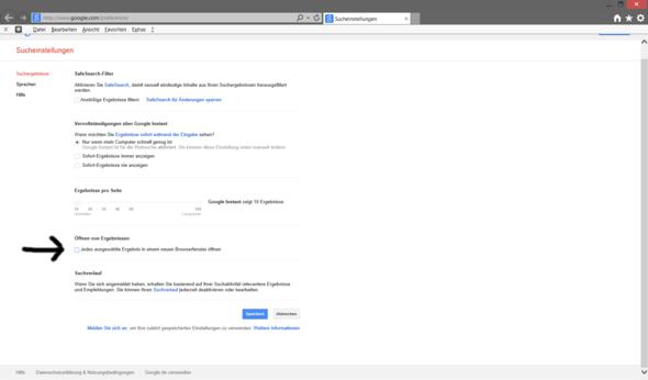 Google Preferences - (Computer, Einstellungen, Link)