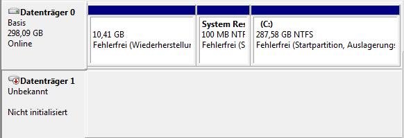 Screen 3 - Hier ist das Unbekannt angezeigte - (Computer, PC, Festplatte)