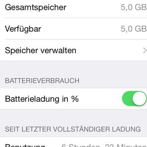 Akkuladung ib % - (iPhone, Leiste)