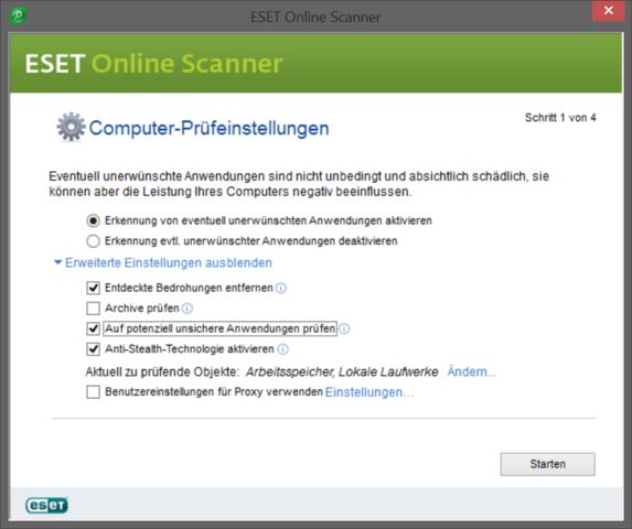 ESET Online Scanner - (PC, Internet, Speicher)
