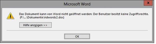 fehlermeldung - (Windows, Datei, Word)