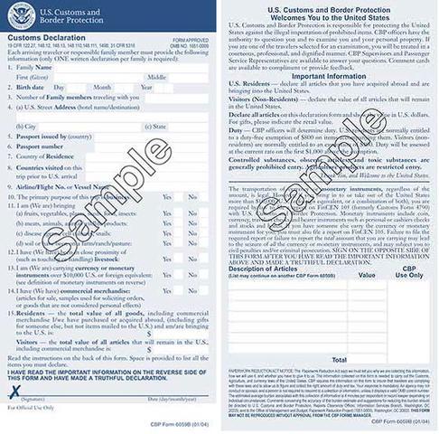 Cbp declaration form 6059b