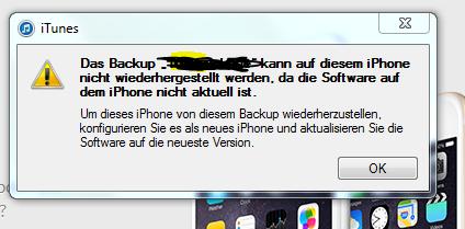 Itunes Meldung - (iPhone, Backup, iPhone 4)