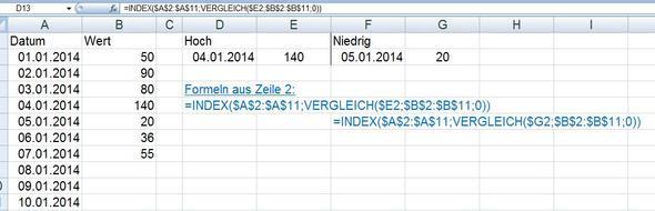 HochNiedrig - (Excel 2007, min max Datum)
