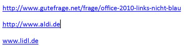 Links in Blau Word 2010 - (Word, Office, Microsoft Office)