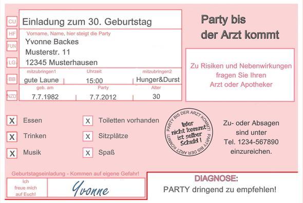 Geburtstagseinladung zum 30. (Geburtstag, Einladung, rund)