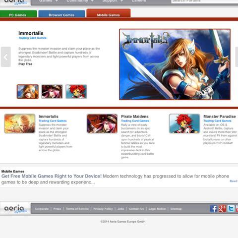 """Du gibst über goggle """"aeriagames"""" ein und gehst auf die Homepage die so aussieht - (Download, S4 League)"""