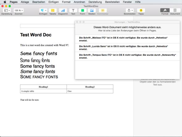 "Eine Word-Test-Datei in Apples ""Pages"" - (Apple, Excel, Word)"