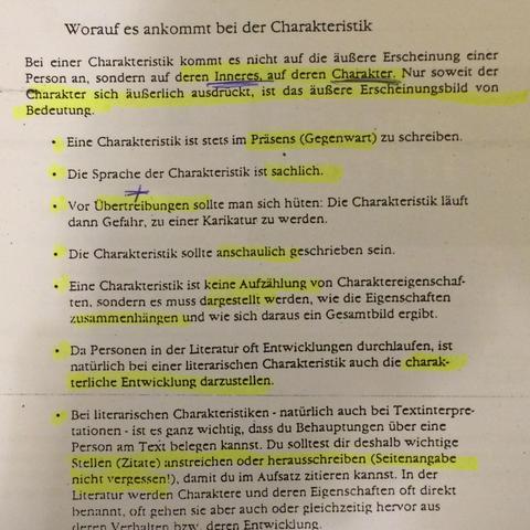 Schluss Einer Charackterisierung Deutsch Charakterisierung