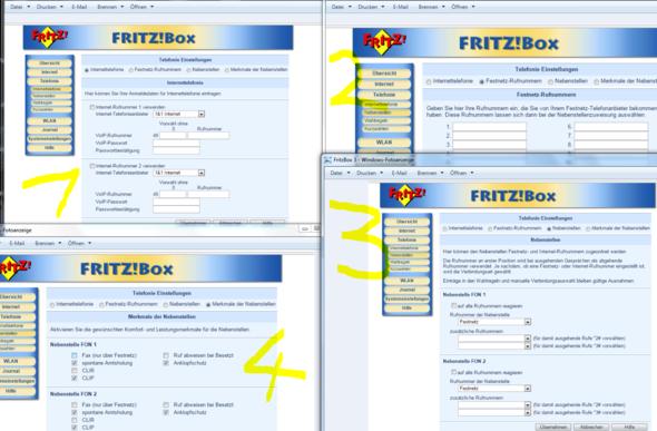 FritzBox Menü - (Telefon, Fritz Box, Fax)