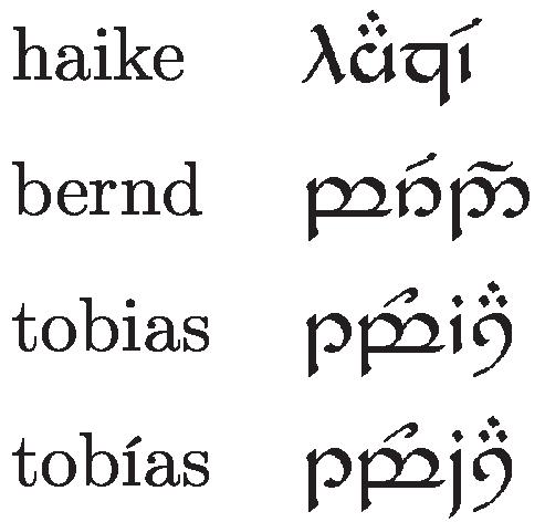 Heike, Tobias, Bernd in elbischen Buchstaben - (übersetzen, elbisch)