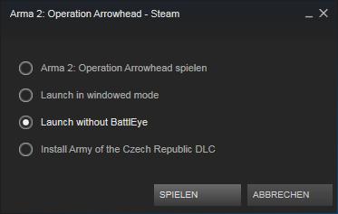 """Stell's auf """"Ohne BattleEye"""" - (Steam, arma-2, BattlEye)"""