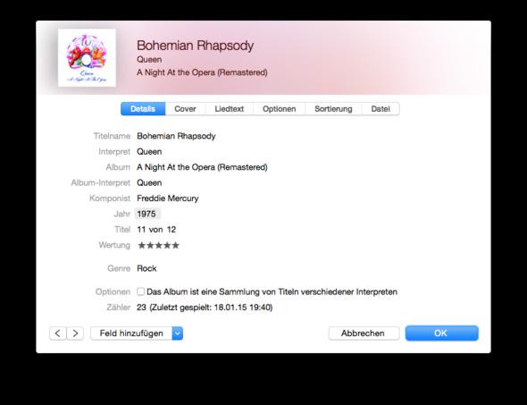 iTunes 12 Info-Fenster - (iTunes, Mac, Macbook)