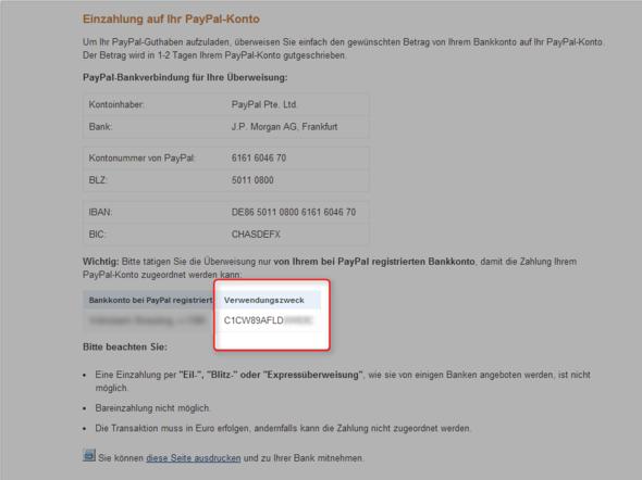 Paypal - Verwendungszweck - (PayPal, Verwendungszweck)