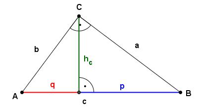 rechtwinkliges Dreieck mit entsprechenden Bezeichnungen - (Mathe, lernen)