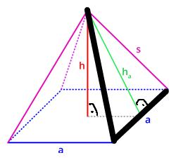 Pyramide zu a (schwarz = gegeben) - (Schule, Körper, Mathe)