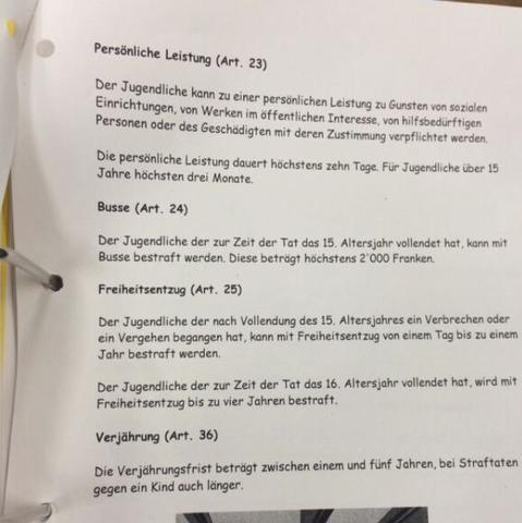 Haben wir gerade in der Schule. Komme aus Zürich :) - (Gesetz, Jugend, Anzeige)