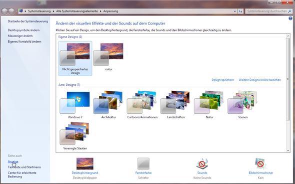 Systemsteuerung -Anpassen - (Desktop, Schrift, gedrungen)
