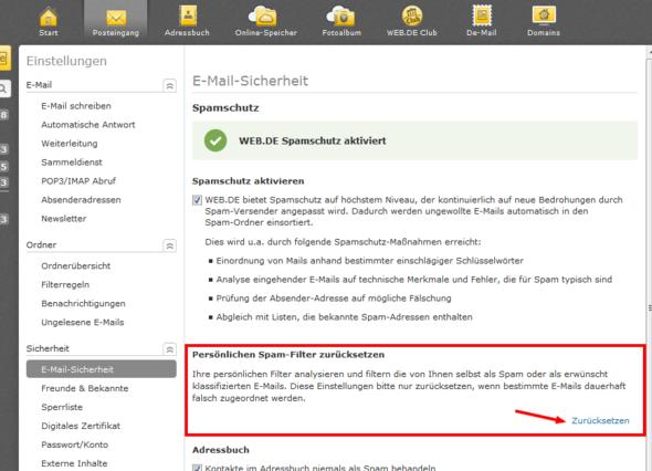 bei web.de Spam-Filter zurücksetzen  - (E-Mail, Account, Web)