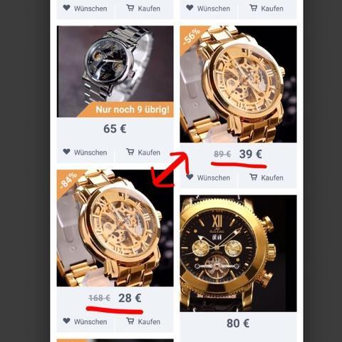 Hier siehst du es 2 gleiche Produkte mit nem anderen Preis  - (Qualitaet, Bezahlung, wish)