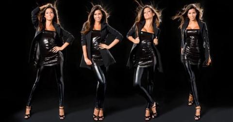 Glänzende Leggings und glänzendes Minikleid. - (Beauty, Mode, Styling)