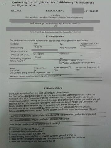 heutiger Vertrag bei Abholung - (Garantie, Autokauf, Gebrauchtwagen)