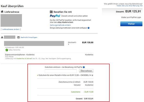 Paypal-Gutschein einlösen - (eBay, PayPal, Gutschein)