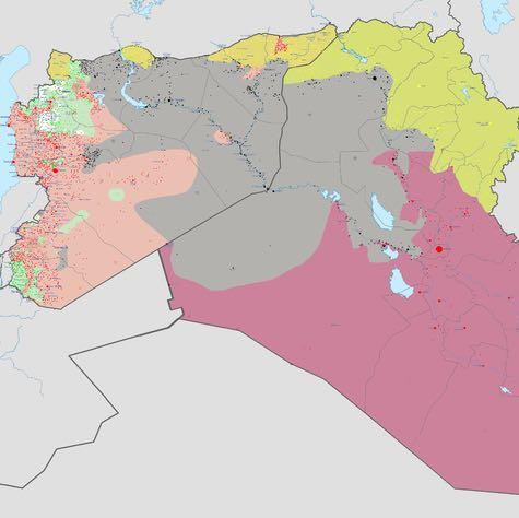 Frontverläufe (Stand: 8. März). IS: Grau. Republik Irak: Rot. - (Familie, Krieg, Asien)