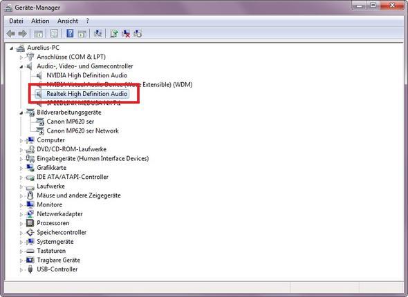 Geräte-Manager: Realtek High Definition Audio (Bild 1) - (PC, Windows, Grafikkarte)