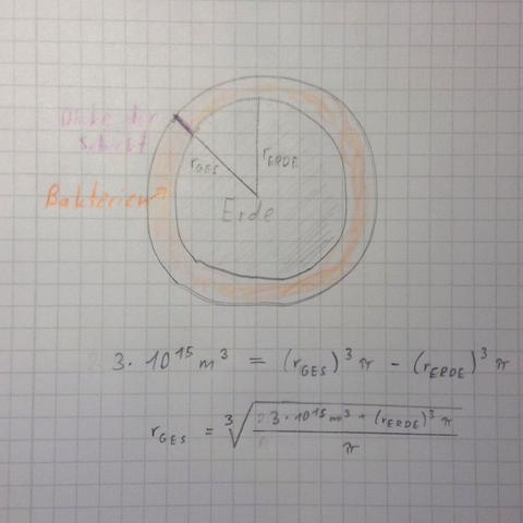 Orange: Bakterien Lila: Dicke der Schicht - (Mathe, Mathematik, Biologie)